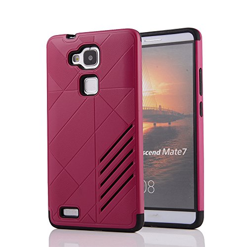 Skitic Doppelter Schutz Hülle für Huawei Mate 7, Tough Rugged Heavy Duty 2 in 1 Dual Layer Hybrid Combo Weiche TPU + Hart PC Stoßfest Rückseite Handyhülle Drop Protection Shock Absorption Tasche Case Cover - Rose