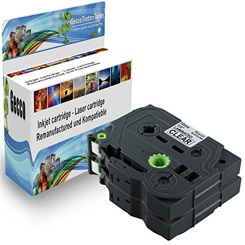 Preisvergleich Produktbild Spetan 2x Schriftband Kassette Kompatibel für Brother P-Touch TZ 131 TZE131 TZ131 Schwarz auf Transparent 12mm x 8m Schreibband Beschriftungsband Farbband 2x TZ-131-Black