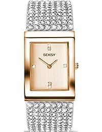 Seksy Krystal Rose Gold Tone Stone Set White Leather Strap Watch Analogue Quartz