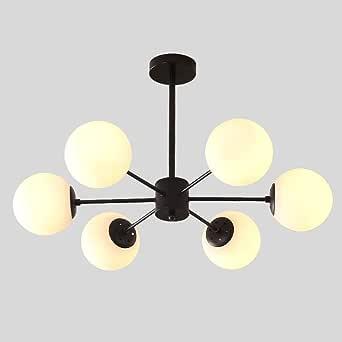 TopJiä Brass Sputnik Chandelier,White Frosted Globe Light Shade E26 Modern Industrial Retro Pendant Lighting for Living Room Dining Room Bedroom