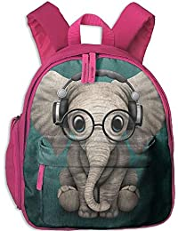 Baby Elephant Listen To Music Double Zipper Waterproof Children Schoolbag Backpacks with Front Pockets For Youth