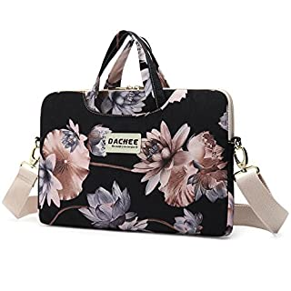 Dachee Black Lotus atten Waterproof Laptop Shoulder Messenger Bag Case Sleeve for 14 Inch 15 Inch Laptop Macbook Pro 15 Case Laptop Briefcase 15.6 Inch
