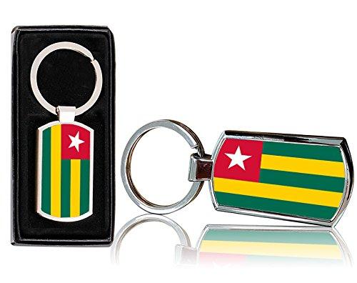 VVM Tech Togo Flagge Design bedruckt chrom Metall Rechteck Schlüsselanhänger mit Geschenk Box–0238