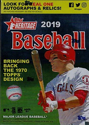 2019 Topps Heritage MLB Baseball unopen Blaster Box mit einer Chance für Rookie-Karten, Relikkarten und Autogramme, inkl. exklusivem 1970 Topps Player Story Booklets