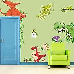MFEIR® Pegatinas de pared niños dinosaurio dragón 30 x 90cm