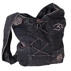 Vishes Stonewash Yogitasche aus Baumwolle mit Stickereien (schwarz)