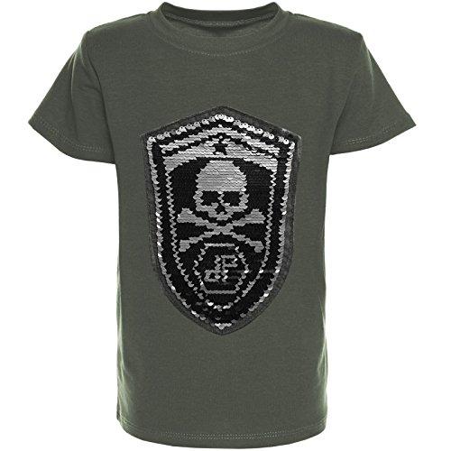 BEZLIT BEZIT Kinder Jungen T-Shirt Wendepailletten Sommer Shirt Sleeve Sweat 21352, Farbe:Grün;Größe:128