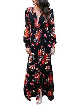 158f897834ce PassMe Vestito Lungo Donna Estate Chiffon Maniche Lunghe Scollato V Fiore  Stampato Abito Maxi a Spacco
