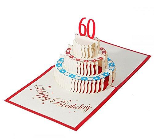 """3D KARTE\""""Zum 60. Geburtstag\"""" I Pop-Up Karte als Geburtstagskarte I Klappkarte als Geldgeschenk, Glückwunschkarte, Geschenk"""