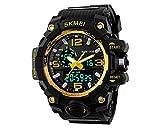 DSstyles Montre homme 50M imperméable à l'eau montre-bracelet numérique anti-chocs montre sport montre chronographe analogique avec grand cadran double - Or