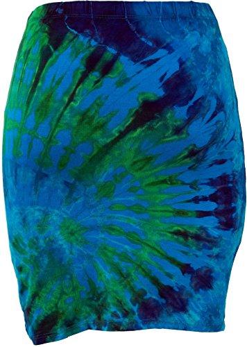 Guru-Shop Batik Hippie Minirock, Yogarock, Damen, Grün, Synthetisch, Size:38, Kurze Röcke Alternative Bekleidung Blau/Bunt