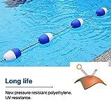 Wood.L Séparateur de piscine et corde de sécurité Lignes de flotteur Corde de séparation bleue et blanche avec balles blanches et bleues pour la piscine, voies navigables intérieures method