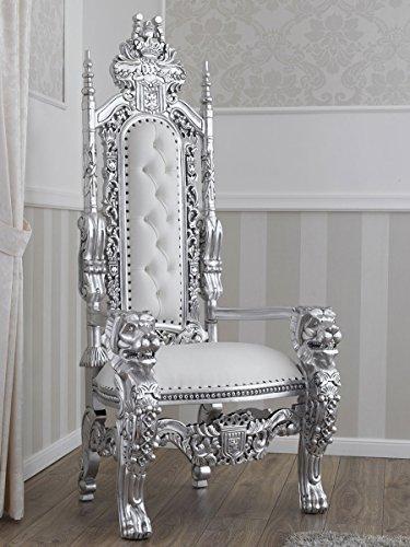 Simone Guarracino Trono Lion Estilo Barroco Moderno sillón Color Hoja Plata Eco-Piel Blanca con...