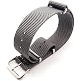 G10 Nato Military Grey Nylon Watch Strap Band Stainless Steel Buckle 18mm