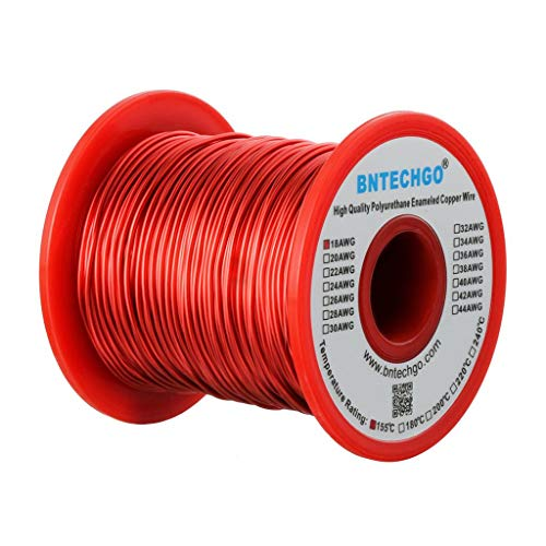 BNTECHGO 18 AWG Magnet Wire - Enameled Copper Wire - Enameled Magnet Winding Wire - 1.0 lb - 0.0393'...
