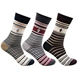 Bonjour Mens Mercerised Ultra Thin Cotton Striped Pattern Pack of 3 Pairs Formal Socks
