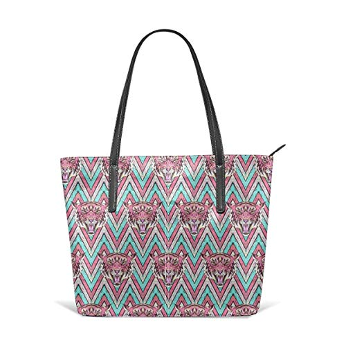 XGBags Pink Blue Stripe Tiger Pattern Animal Print Men Women Leather Tote Bags Satchel Top Handle Bags Shoulder Leisure Handbags For Ladies Shopping Bag Office Briefcase Tote Umhängetaschen Pink Tiger Stripe