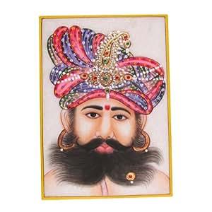 en asie art peinture sur du marbre plaque miniature de the indian maharaja avec un bonnet. Black Bedroom Furniture Sets. Home Design Ideas