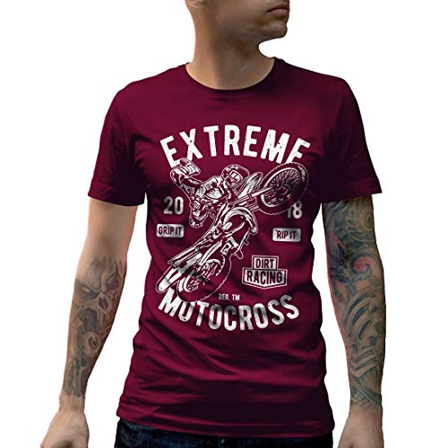 Dirt Track Racing T-shirts (A651MCNTM Herren T-Shirt Extreme Motocross Motorcycles Dirt Track Caferacer Race Racing Custom Engine Speed Ride Fast Or Die Last Cafe(X-Large,Maroon))