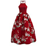 Hansee Sexy Frauen-Blumendruck-langes Kleid-Sleeveless Partei-Abend-Strand-Maxi Kleid (L, Wein) Bild