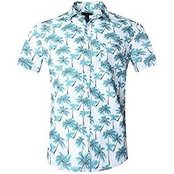 SOOPO Camisa Hawaiana para Hombre Shirt de Manga Corta Estampados de Palmas Azules,Regular Casual, Camiseta Bonita y Cómoda para Verano, XL