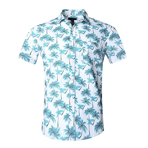 SOOPO Camisa Hawaiana Hombre Shirt Manga Corta Estampados