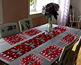 #5: Galaxy Home Decor Dining Table Runner With Six Mats Jacquard Fabric Set of six mats with one runner - Set of 7