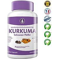 KURKUMA (CURCUMA) Kapseln hochdosiert- medizinisch 500mg Curcuma Pulver (zu 95% Curcumin) + 7mg schwarzer Pfeffer(zu 95% Piperin) pro Kapsel 60 Stk. hochdosiert 100% vegan ⭐Geld-zurück-Garantie