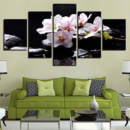Dekorative Malerei,Inkjet Kerze Stein Bambus Blumen Multi-verbundenen modernen Wandmalerei nach Hause Freizeitclub Gemälde 1 Malerkern 10x15cmx2 10x20cmx2 10x25cmx1 - Weingläser Farbige Multi