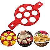 Sqiuxia Silikon Runde Pfannkuchen Moulds Ring ied Kocher, 7 Löcher Pancake Maker Ring wi Griff, wiederverwendbare - Nicht i