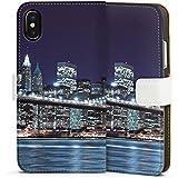 Apple iPhone X Tasche Hülle Flip Case Brooklyn Bridge New York Brücke