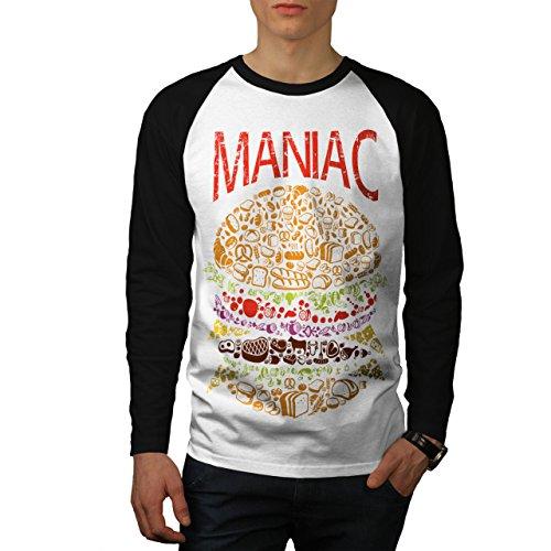 Hamburger Wahnsinnige Schnell Essen Herren S Baseball lange Ärmel T-Shirt | Wellcoda (Bekam Baseball)