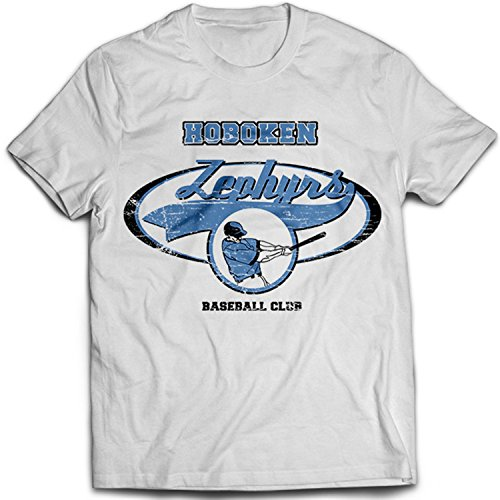 9093w Hoboken Zephyrs Uomo T-Shirt The Twilight Zone Baseball Team Saga Bianco