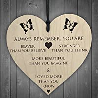 Red Ocean You Are Braver Stronger Smarter & Beautiful Wooden Hanging Heart Friends Plaque