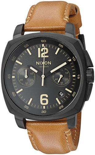 Nixon Men's 'Charger Chrono' Quartz Metal and Leather Automatic Watch, Color:Brown (Model: A10732447-00)