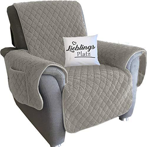 JEMIDI Sesselschoner Sherpa Schonbezug Sesselschutz Schutzbezug Sesselhusse Sessel Schoner Sofabezug Sofaschonbezug Sofa Überwurf Sofa Überdecke Beige