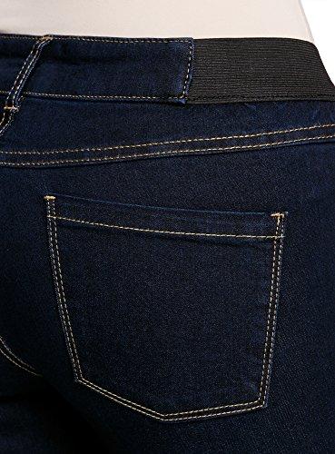 oodji Ultra Damen Jeggings mit Elastischen Details am Bund Blau (7900W)