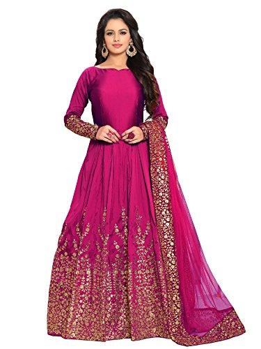 Ethnic Yard Designer Embroidered Taffeta Silk Bridal Full Sleeve Pink Semi-Stitched Anarkali Salwar Suit Free Size for Women