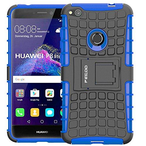 PEGOO Coque Huawei P8 Lite 2017, Antichoc Armure Housse Anti Scratch Protection Coque Housse Etui avec Support Cover Case pour Huawei P8 Lite 2017 (Bleu)
