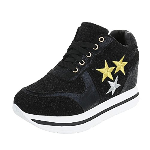 Ital-Design Low-Top Sneaker Damenschuhe Low-Top Keilabsatz/Wedge Sneakers Schnürsenkel Freizeitschuhe Schwarz