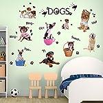 Wallpark Cartoon Cute Little Dogs Footprints Removable Wall Sticker Decal, Children Kids Baby Home Room Nursery DIY Decorative Adhesive Art Wall Mural