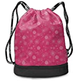 MLNHY White Snowflakes On Pink Background Training Drawstring Bag Backpack Bundle Backpack