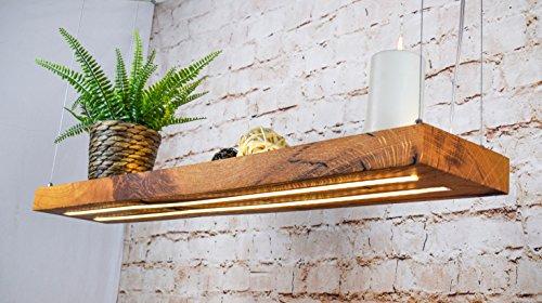 LED Hängelampe | Perfekt über dem Esstisch | Pendelleuchte Holz | Edles Design | aus massiver Wild eiche | als Regal verwendbar | Dimmbar (100 cm) - 3 Regal Eiche Tisch