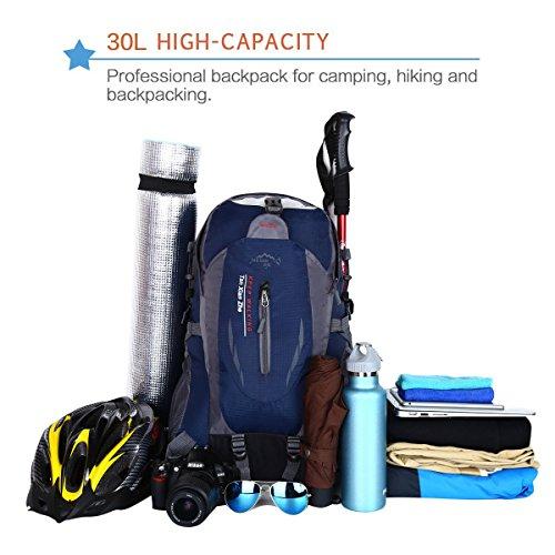 HWJIANFENG Zaini 30L Sportivi Unisex in Nylon Poliestere da Trekking Borse per Outdoor Campeggio Escursionismo Viaggi Blu Scuro