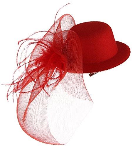 GEMVIE Fascinator Damen Haarschmuck mit Schleier für Kostüm Karneval Fasching Burlesque Mini Hut 30cm Rot (Burlesque Kostüm Rot)