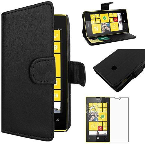 ebestStar - Coque Nokia Lumia 520 Etui PU Cuir Housse Portefeuille Porte-Cartes Support Stand, Noir + Film Protection écran Verre Trempé [Appareil: 119.9 x 64 x 9.9mm, 4.0'']