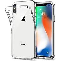 Spigen [Liquid Crystal] iPhone X Hülle, Transparent Silikon Handyhülle Passgenau Kratzfest Durchsichtige Schutzhülle Case (Crystal Clear) 057CS22118