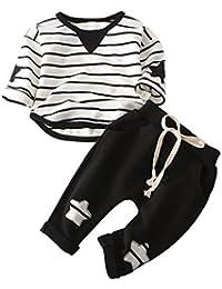Ensemble à Manches Longues, Internet Bébé Garçon Fille Sweatshirt à rayures + Pantalon Coton
