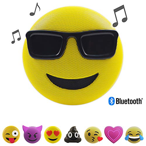 Jamoji Bluetooth Lautsprecher mit Mikrofon - Sunglasses - Sonnenbrille - Smiley Emoticon Emoji - kabellose Lautsprecherbox - 6 Stunden Akkulaufzeit - mit Standfuß - AUX und Micro-USB Anschluss