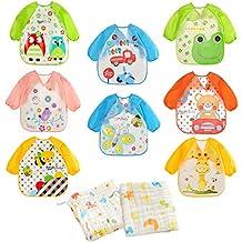 Tomkity 8 Piezas Babero Impermeable Para Bebé con 2 Toalla Facial Infantil Algodón